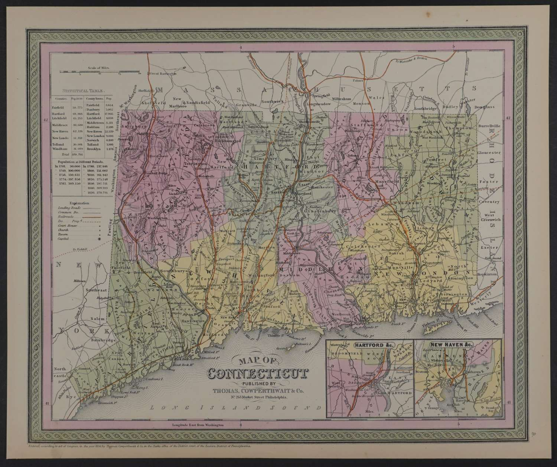 Map of Connecticut by Thomas Cowperthwait & Co