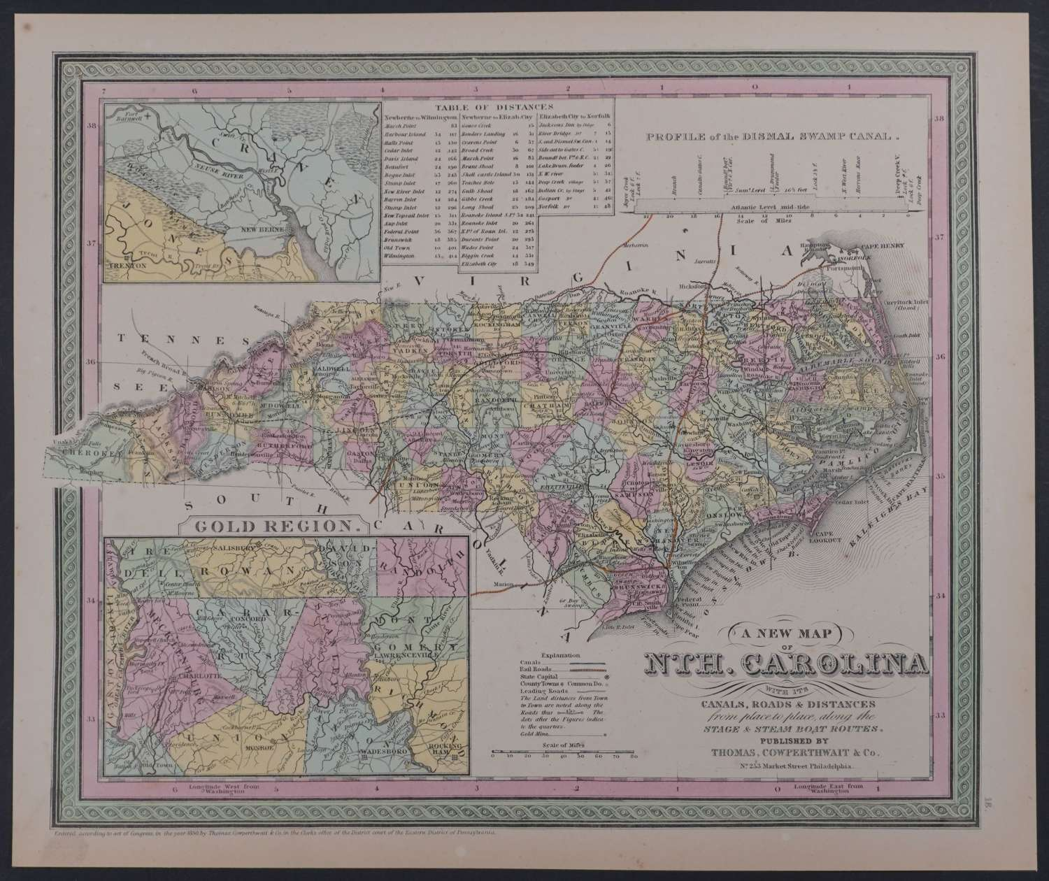 A New Map of  Nth. Carolina by Thomas Cowperthwait & Co