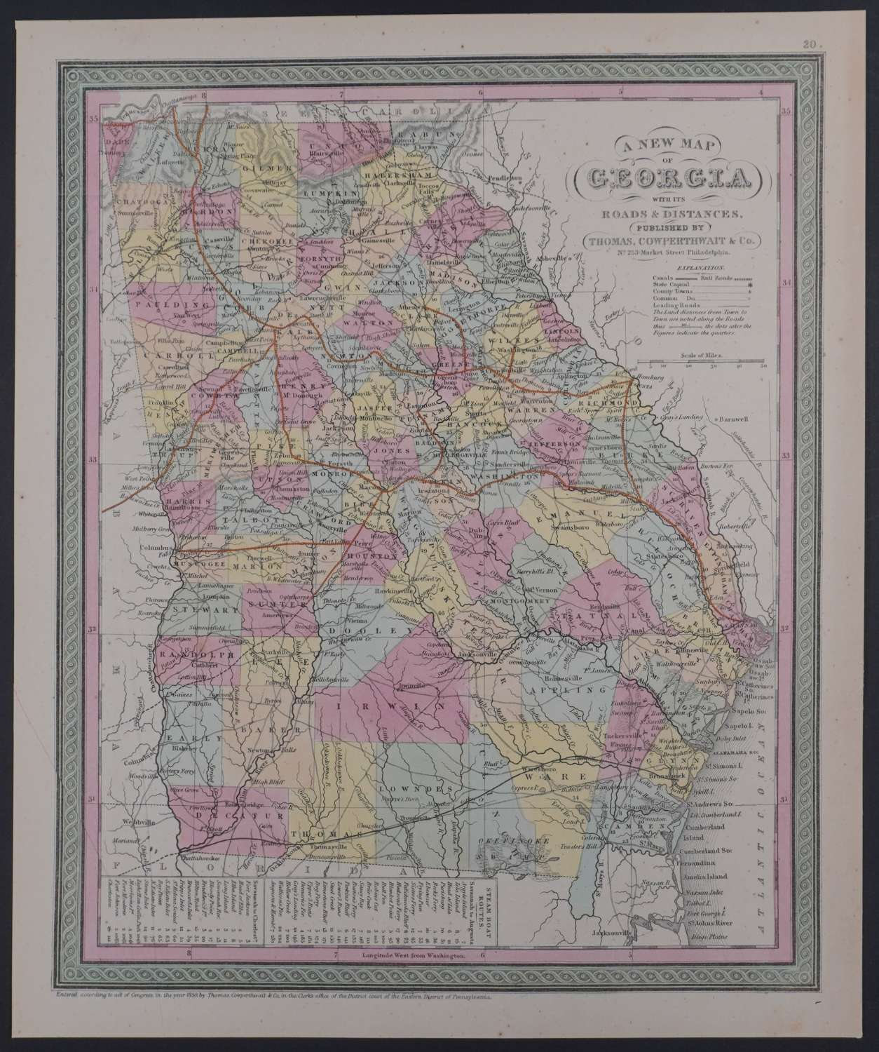 A New Map of Georgia by Thomas Cowperthwait
