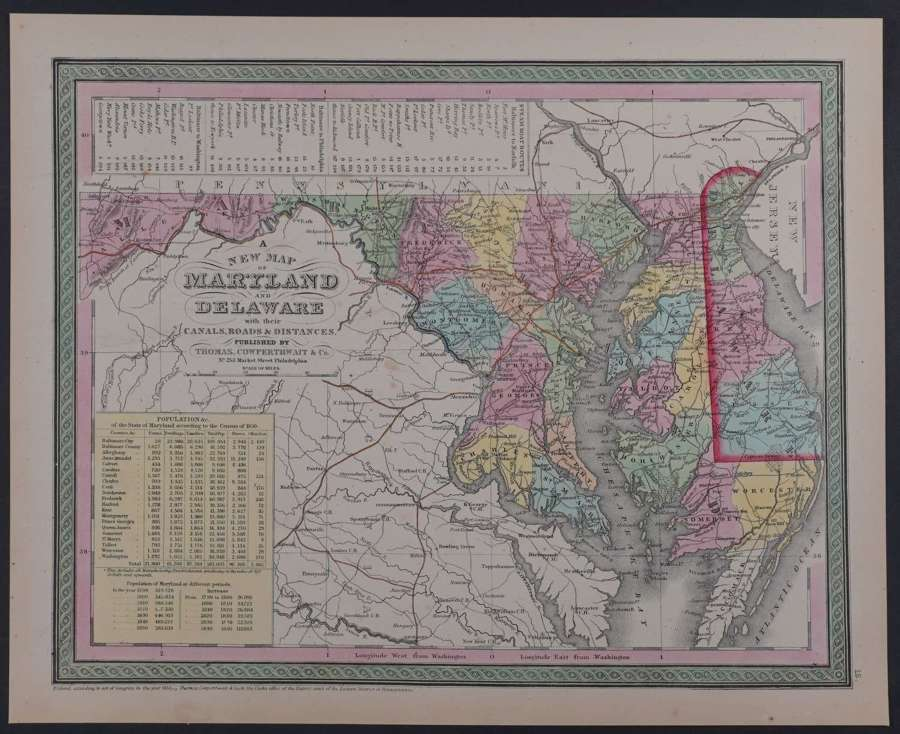 A New Map of Maryland by Thomas Cowerthwait & Co