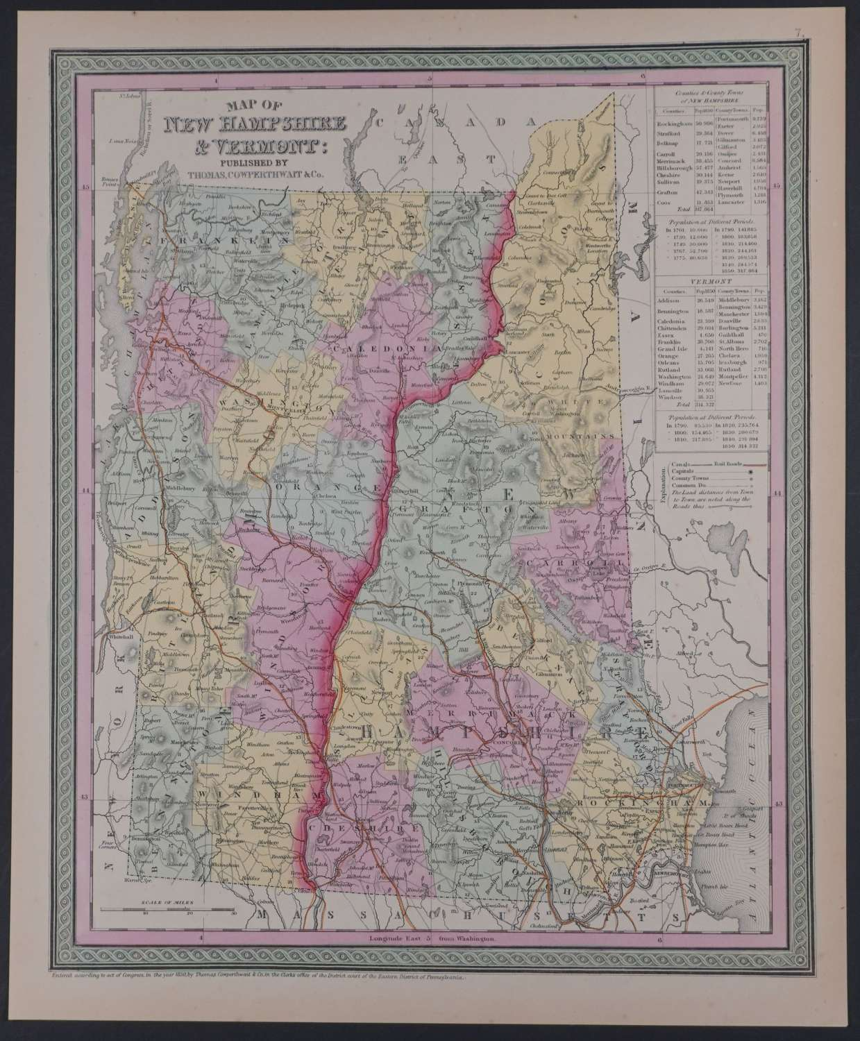 Map of New Hampshire & Vermont by Thomas Cowperthwait & Co