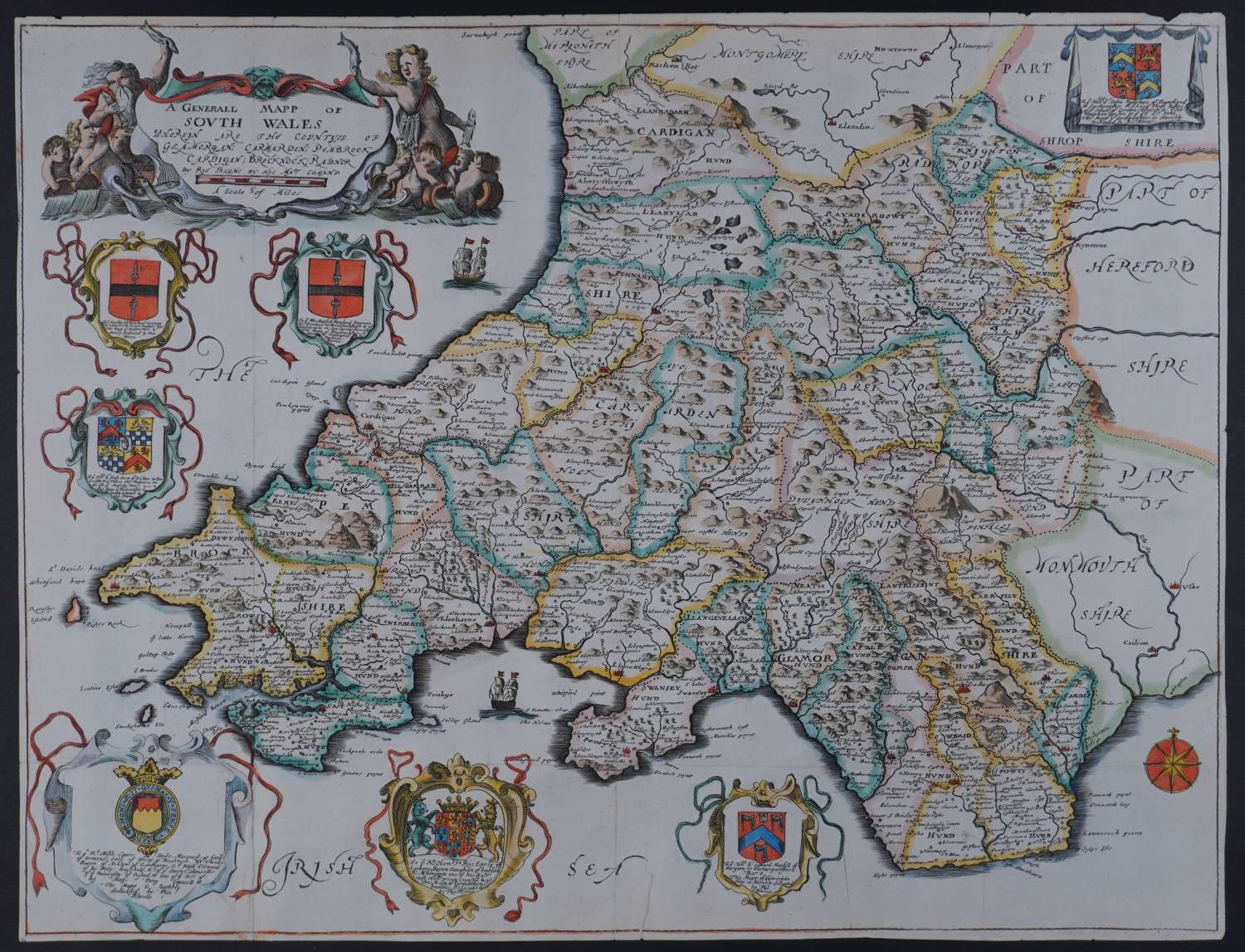 A Generall Mapp of South Wales by Richard Blome