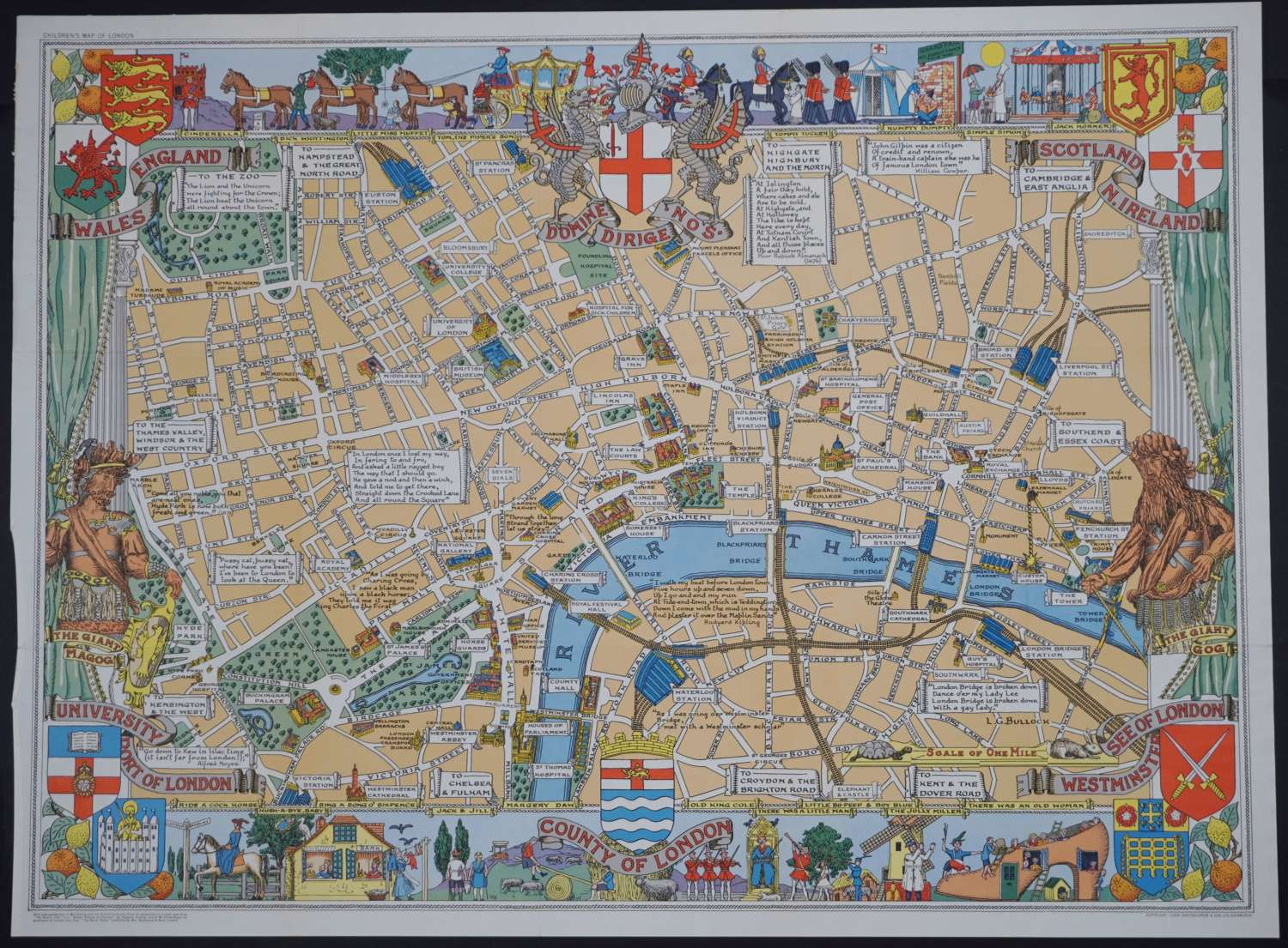 Children's Map of London by Leslie George Bullock