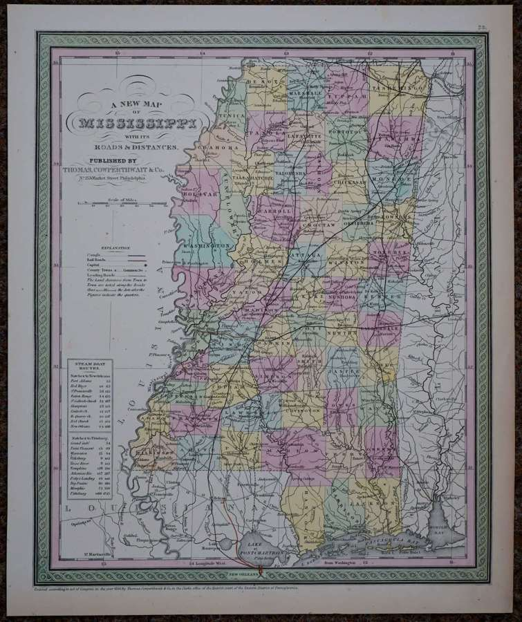A New Map of Mississippi with its Roads & .. by Thomas Cowperthwaith