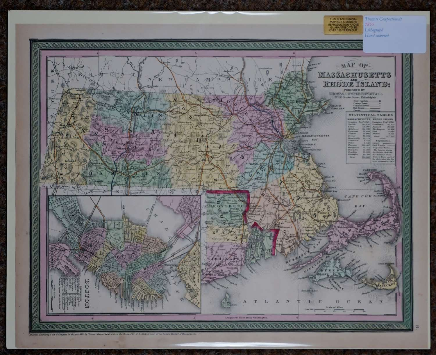 Map of  Massachusetts and Rhode Island by Thomas Cowperthwait & Co