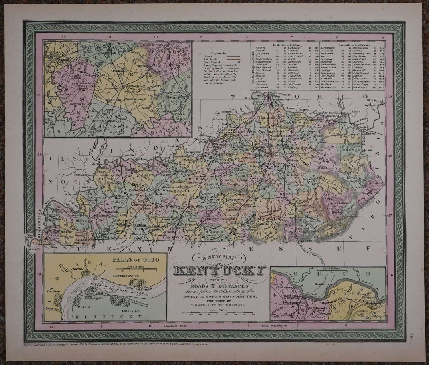 A New Map of Kentucky by Thomas Cowperthwait & Co