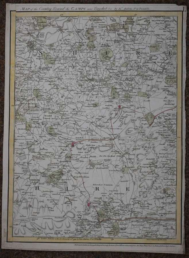 (Surrey) Map of...  Camps near Bagshot by James Andrews
