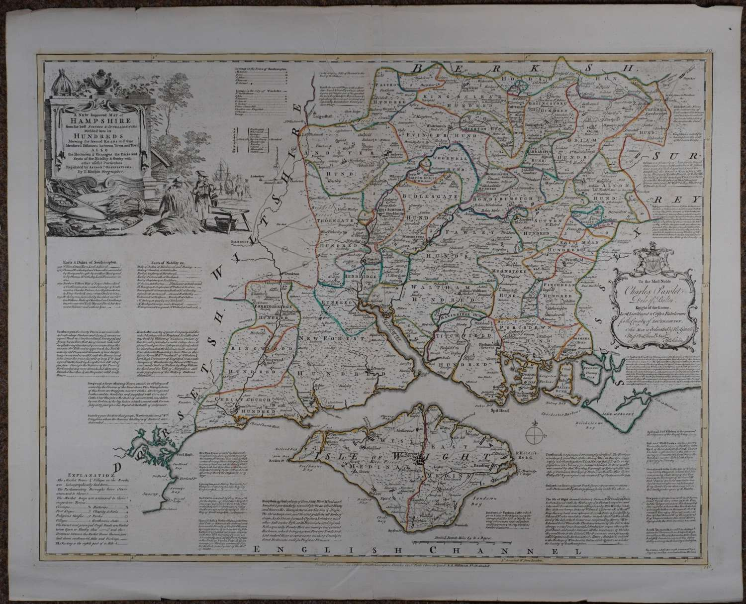 A New Improved Map of Hampshire by E Bowen,T Kitchin