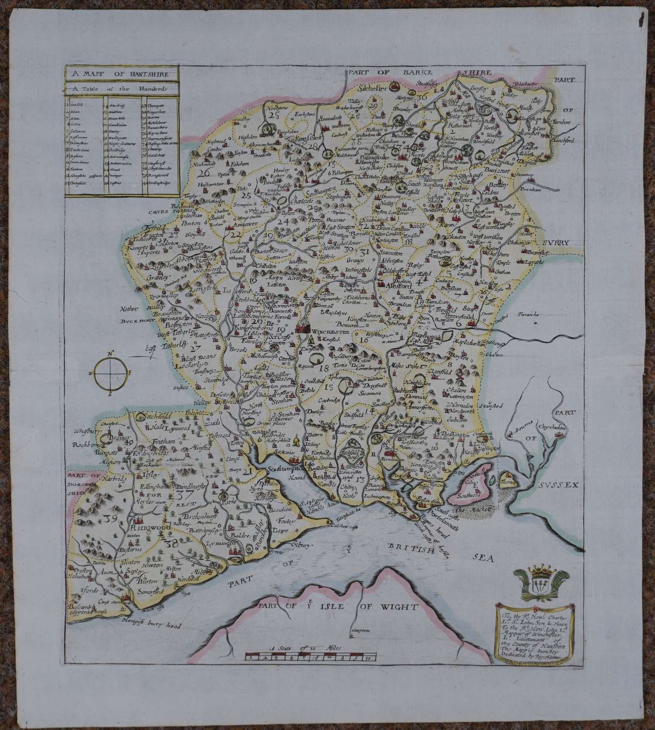 A  Mapp of  Hantshire by Richard Blome