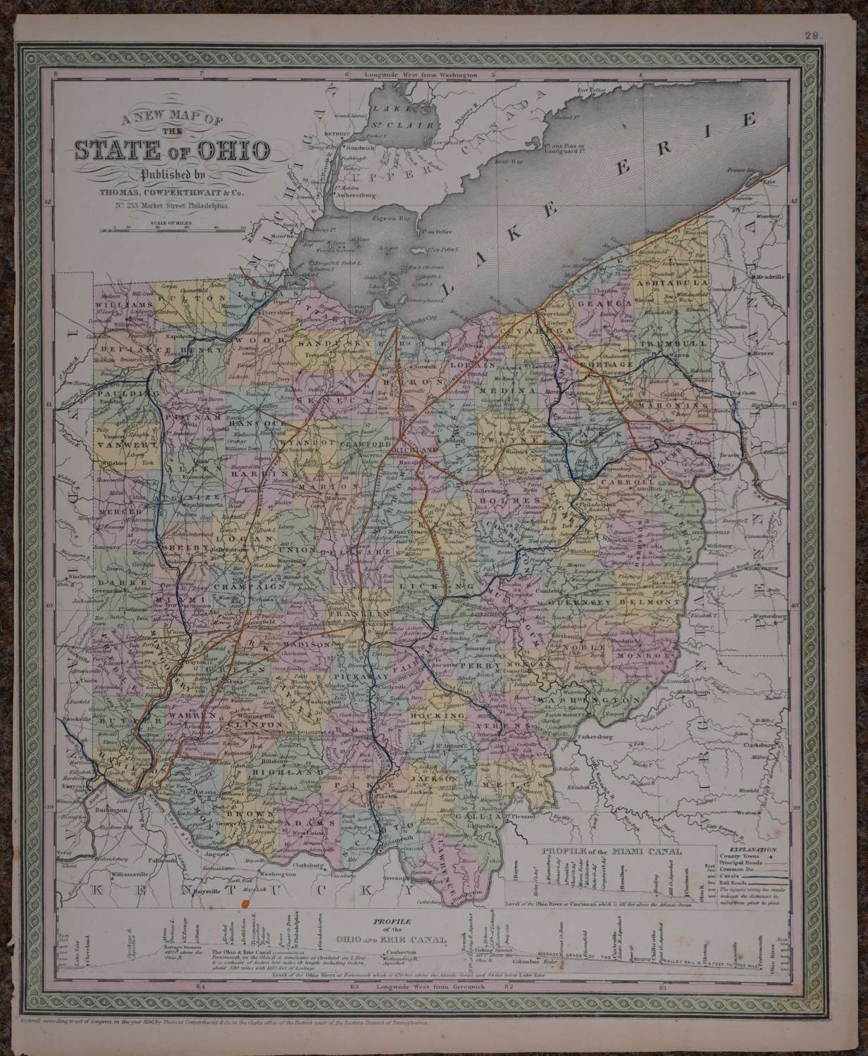 A New Map of the State of Ohio by Thomas Cowperthwait & Co