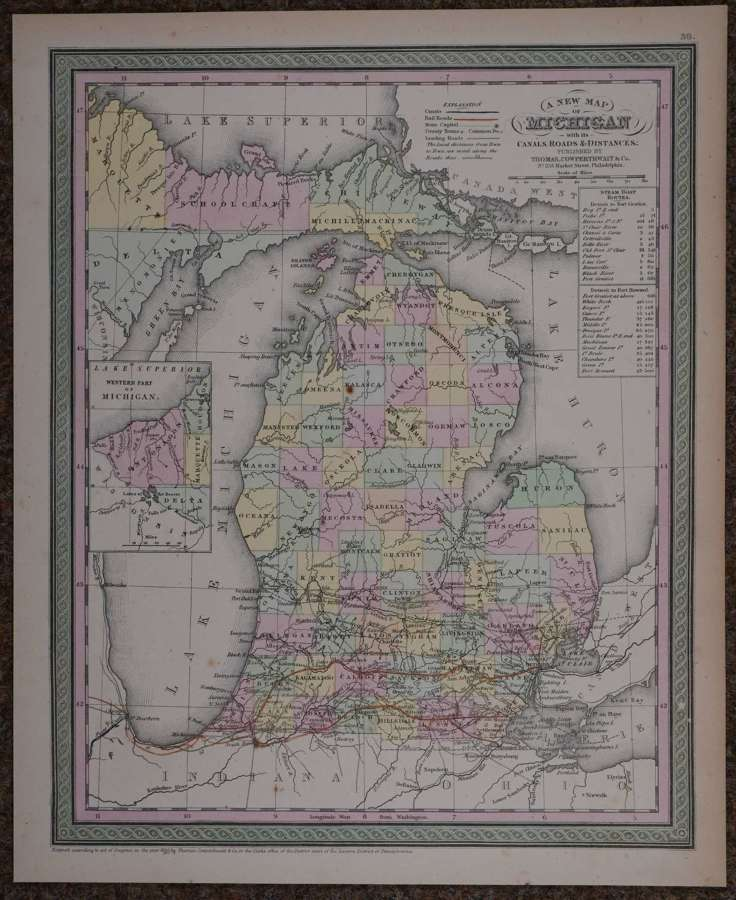 A New Map of Michigan by Thomas, Cowperthwait & Co