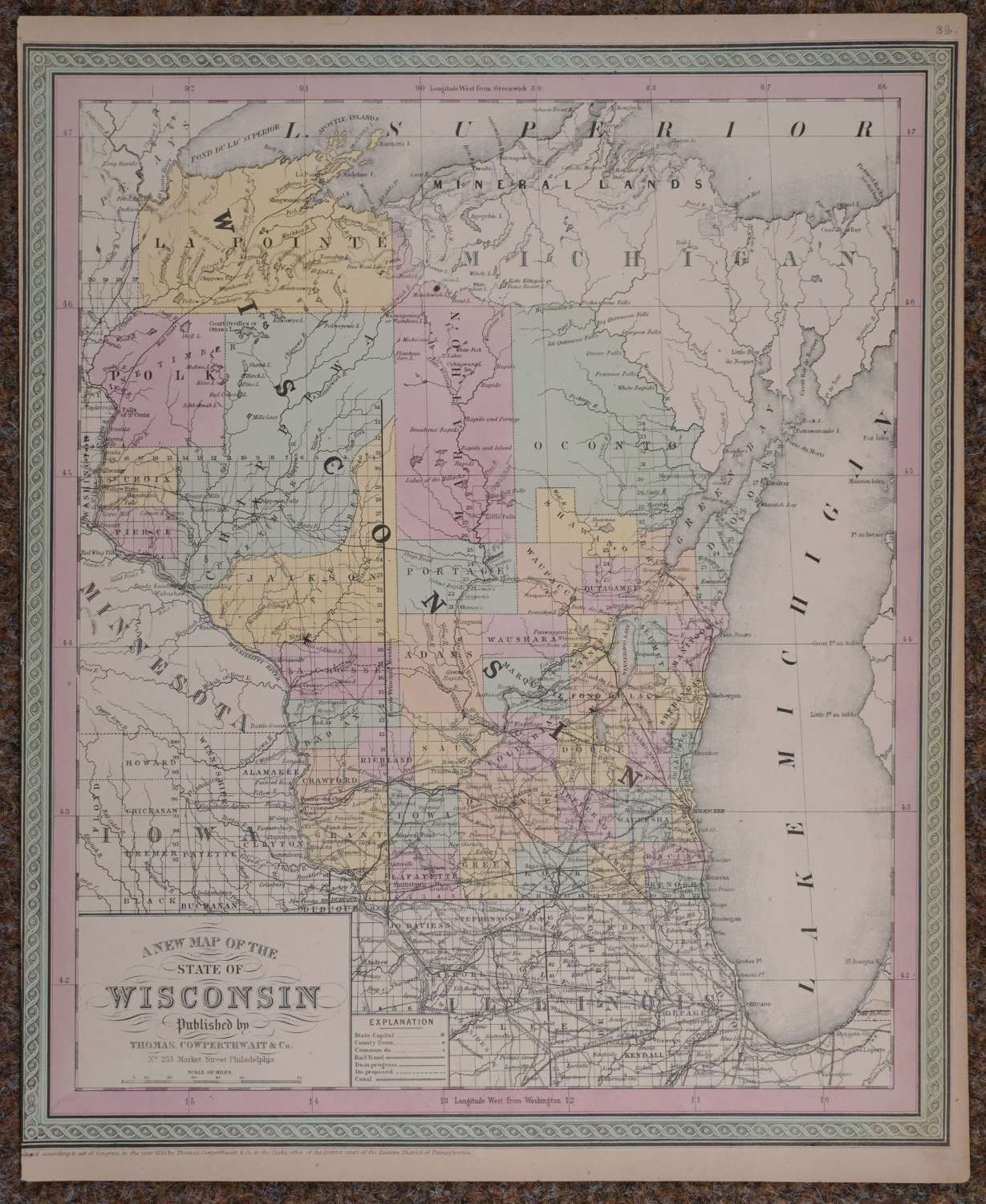 A New Map of the State of Wisconsin by Thomas Cowperthwait & Co