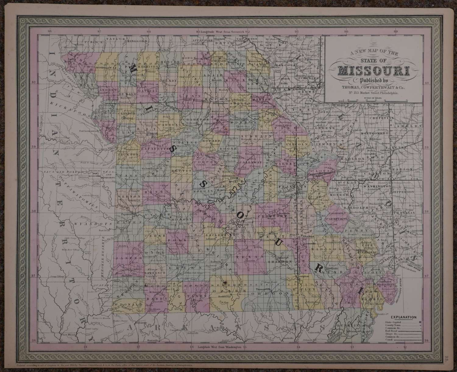 A New Map of the State of Missouri by Thomas Cowperthwait & Co
